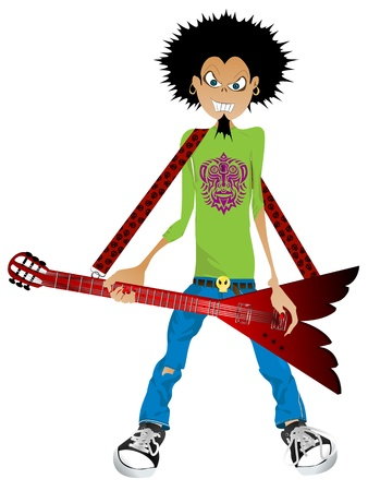 Cartoon drawing of a boy with electric guitar Vector
