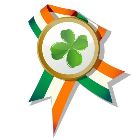 St.Patrick badge with four leaves clover and Irish colors Stock Vector - 8901005