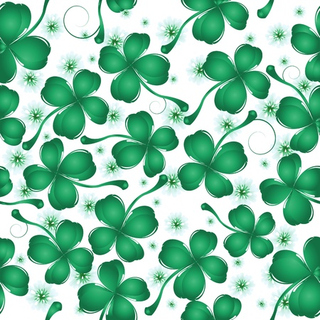 Decorative seamless background with four leaves clover and flower for St. Patrick's Day Stock Vector - 8901016