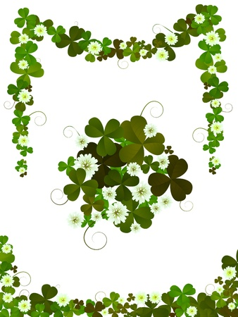 Decorative clover design elements for St.Patricks Day layouts  against white background Vector