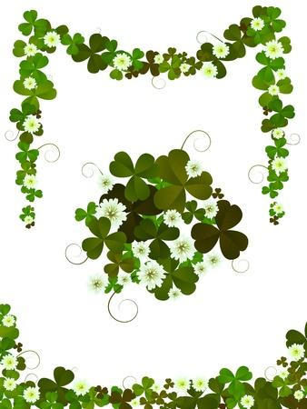 four leafed clover: Elementos de dise�o de tr�bol decorativos para dise�os de d�a del St.Patrick fondo blanco
