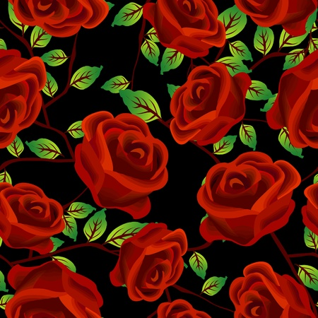 Seamless background design with stylized red roses over black Vector