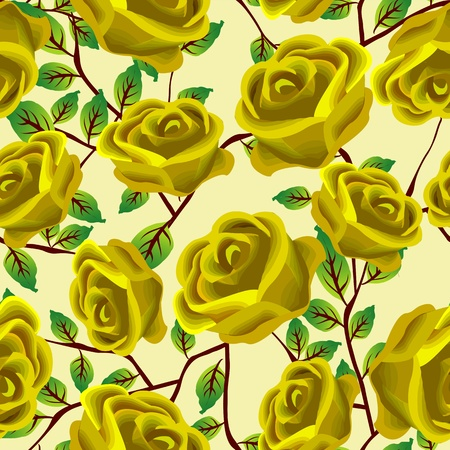 gele rozen: Seamless background design with stylized yellow roses
