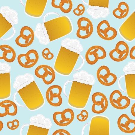 bavarian culture: Beer mugs and pretzels design, seamless pattern suitable for Oktoberfest celebration. No mesh.