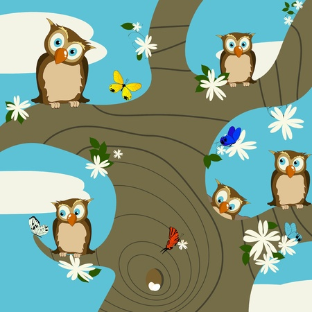 A springtime background with cute owls and butterflies Vector