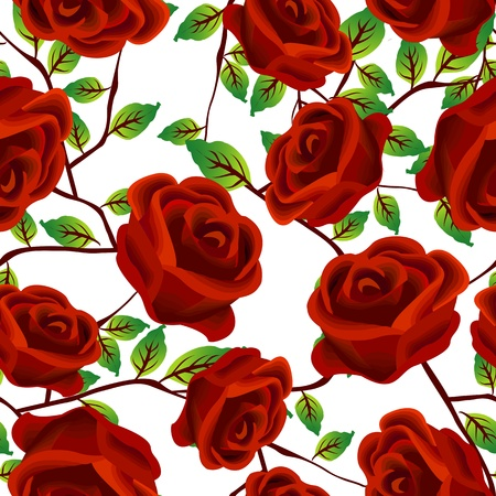 Seamless background design with stylized red roses isolated over white background