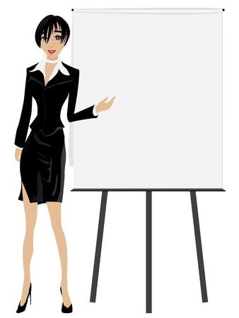 sales executive: Ejecutivo de ventas. Mujer de negocios atractivo con una Junta. Vectores