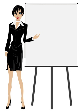 presenter: Sales Executive. Attractive business woman with a board.