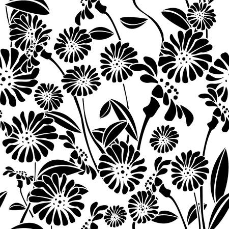 vegetation: Decorative floral background, seamless pattern in black and white, clip art