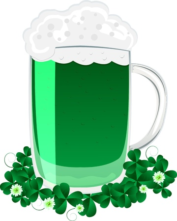 Green beer mug and clover leaves for the feast of St. Patrick Stock Vector - 9036616