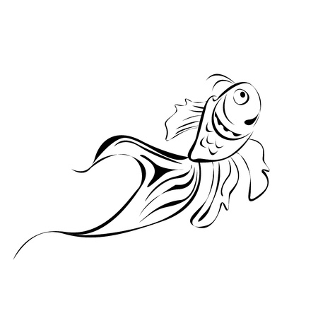 drawing large: Line art fish, isolated over white background