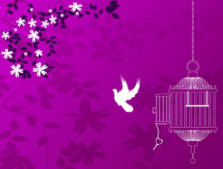 in a cage: Bird flying away form cage, vintage background Illustration