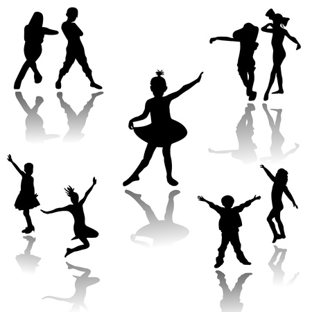 Silhouettes of children at dance Vector