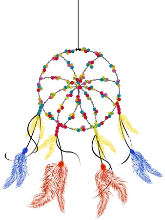 legends folklore: Dream catcher, isolated object over white background