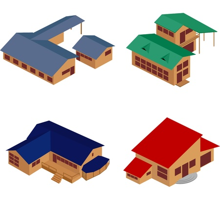 sub: Isometric perspective view of houses over white background, clip art icons. No mesh or gradients used. Illustration