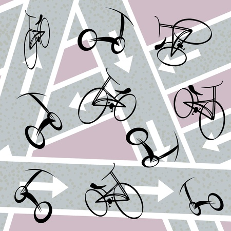 bicycling: Bicycle pattern with stylized hand drawn bicycles. Abstract art illustration