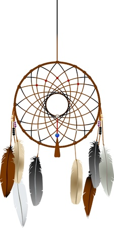 legends folklore: Native american indian dreamcatcher over white background