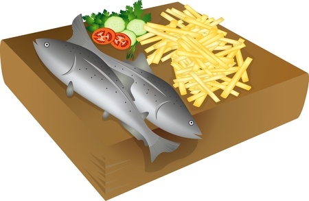 Fish and chips on a wooden plate, isolated objects over white background Vector