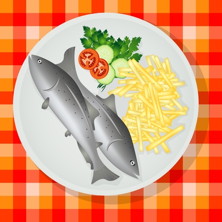 Traditional British fish and chips on a plate Illustration