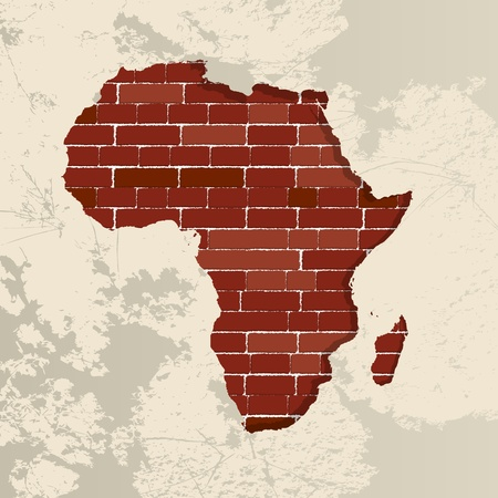 social history: Africa map on a brick wall Illustration