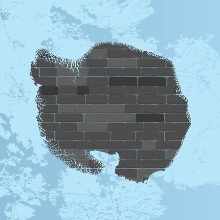antartide: Mappa di Antartide su un muro di mattoni