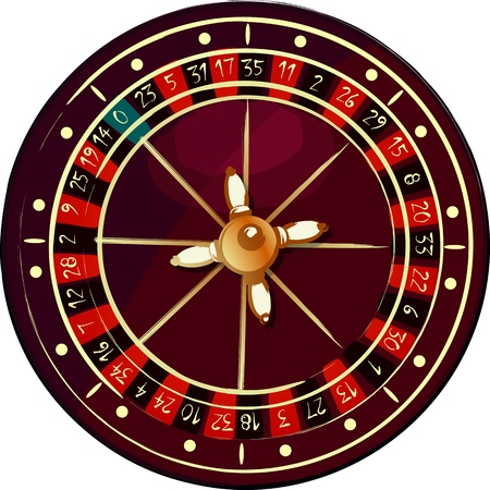 luck wheel: Grunge roulette wheel over white background Illustration