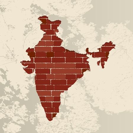 plaster wall: India map on a brick wall Illustration