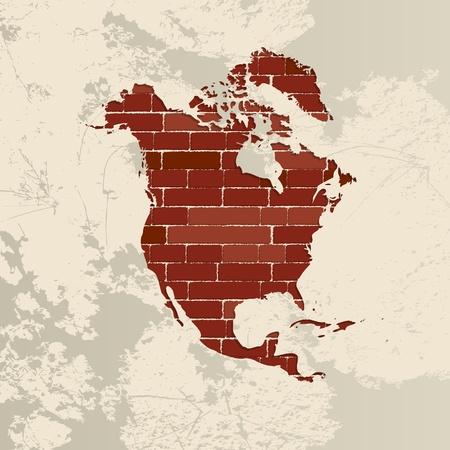 north america map: Mappa di Nord America su un muro di mattoni