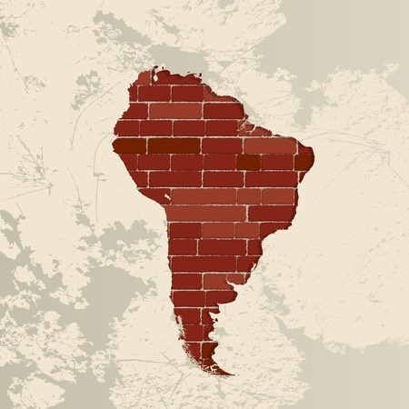 South America map on a brick wall Vector