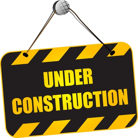balck: Under construction sign over white background