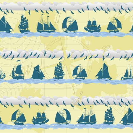 Seamless pattern with sailing ships Vector