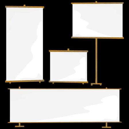 Rouleau vierge jusqu'à la collecte des bannières sur un fond noir, modèle d'affichage pour les designers