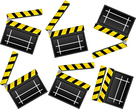 film title: Moviecinema clapboard set over white background