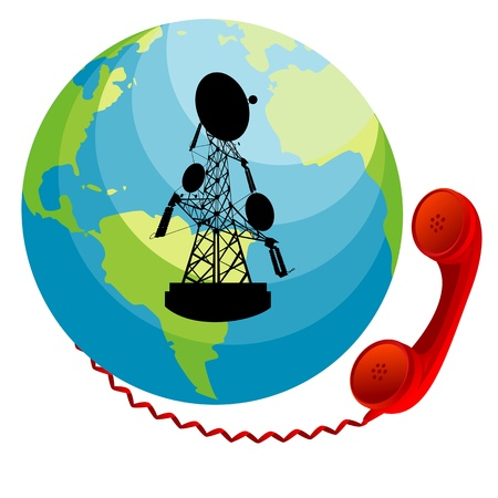 Red phone receiver connected to Earth. Conceptual communication icon