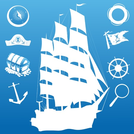 Composition with sailing symbols over blue background Vector