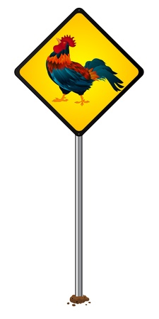 avian flu: Attention proud rooster, stylized road sign, isolated object over white background Illustration