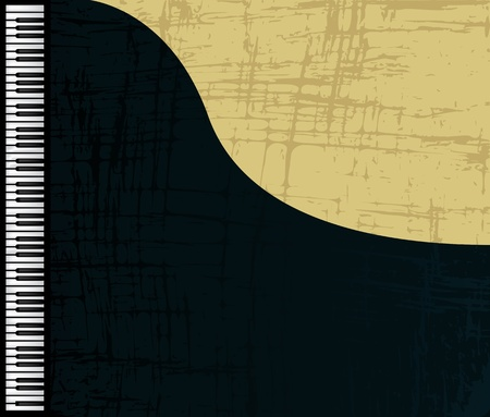 piano keyboard: Grunge grand piano profile, graphic illustration