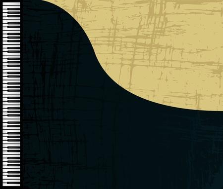 teclado de piano: Perfil de piano de cola de grunge, ilustraci�n gr�fica