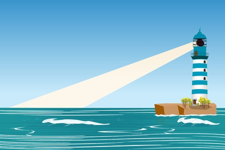 Lighthouse landscape background with plenty of room for text Vector