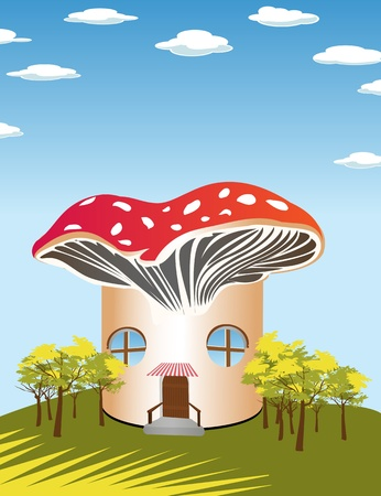 Fantasy cartoon background with a mushroom shape house Vector