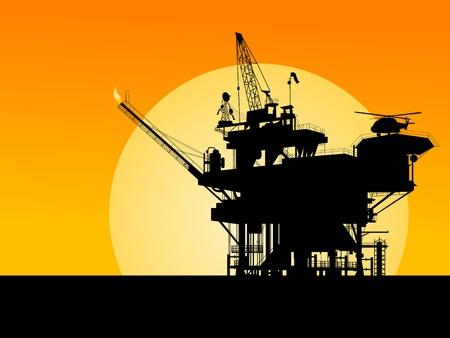 recursos naturales: Silueta de una plataforma petrol�fera en la puesta de sol