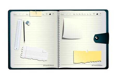 sticky notes: Open organisator, met pen, gum het meten van lijn en sticky notes Stock Illustratie