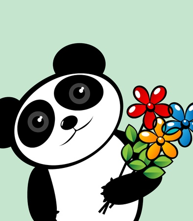 Panda lover with flowers, editable graphic illustration with room for your text Vector