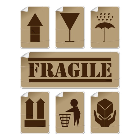 glued: Fragile and safety badly glued stickers, isolated and grouped objects against white background