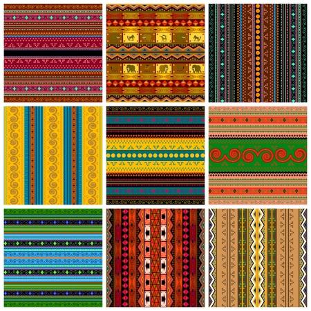 tribales: Colecci�n de fondos decorativos con motivos geom�tricos y siluetas de animales, aislado y objetos agrupados sobre fondo blanco