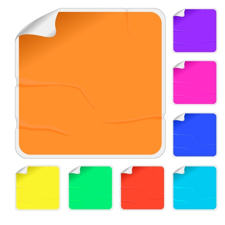 pasted: Empty color stickers with bended corners and glue marks, isolated objects over white background
