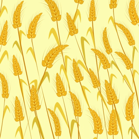 Ripe wheat. Isolated and grouped objects over Yellow background Stock Vector - 9624891