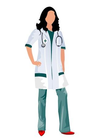enfermera caricatura: Una doctora o una enfermera con un estetoscopio, objetos aislados sobre fondo blanco
