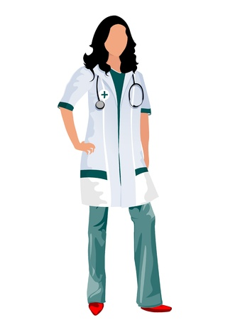 stagiaire: Une femme m�decin ou une infirmi�re avec un st�thoscope, des objets isol�s sur fond blanc Illustration
