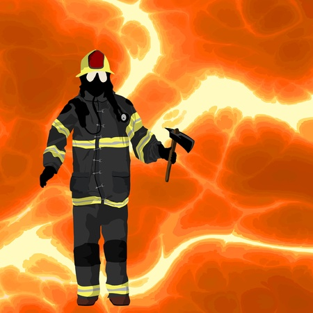 Firefighter over flames background, plenty of room for text Vector